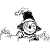 Scarecrow Peeking Over Fence Coloring Page