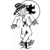 Coloring Pages: Scarecrow with Harvest Moon
