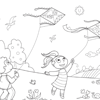 Coloring Page: Kids Flying Kites