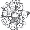 Coloring Page of Kids Waving