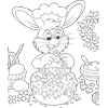 Coloring Page of Easter Bunny Decorating Treats