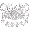 Coloring Pages: Girl and Boy Filling Easter Basket