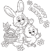 Coloring Page of Happy Easter Bunny and Chick