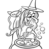 Coloring Page: Witch, Cat and Caldron