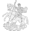 Coloring Page of Medieval Knight and Dragon