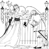 Coloring Page of Princess Standing By Gate