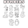 Numbers 1 to 9 Coloring Page