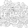 Coloring Page of Be Happy!