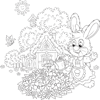 Coloring Page of Bunny Watering Garden