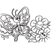 Coloring Page of Butterfly and Flowers