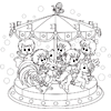 Coloring Page of Kids on a Carousel