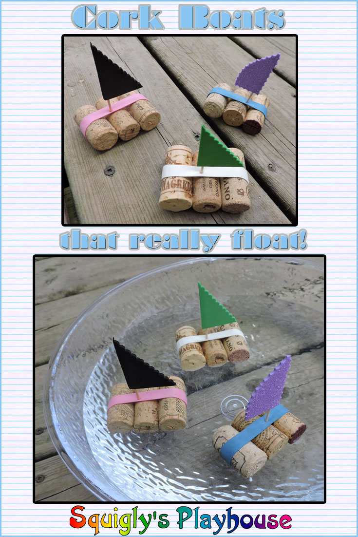 These cute little cork boats float in the water. They are an easy and fun craft to make. Why not make a whole bunch? This craft idea is ideal for a pirate or tropical theme birthday party.