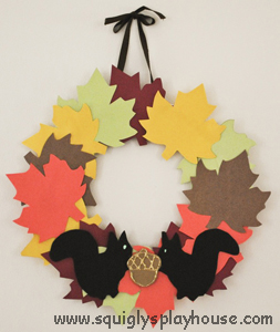 Leaf Wreath with Squirrels