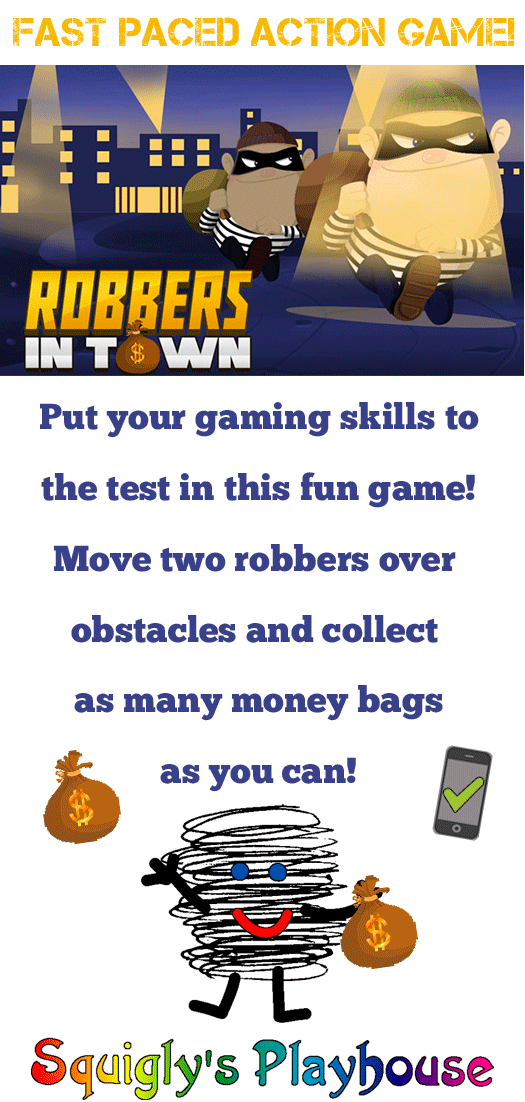 Image of two robbers running away with the words Robbers In Town a Fast paced action game!