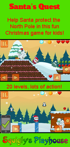 A fun Christmas game for kids. Help Santa rid of the North Pole of evil monsters. Play it on your desktop, tablet or mobile device!