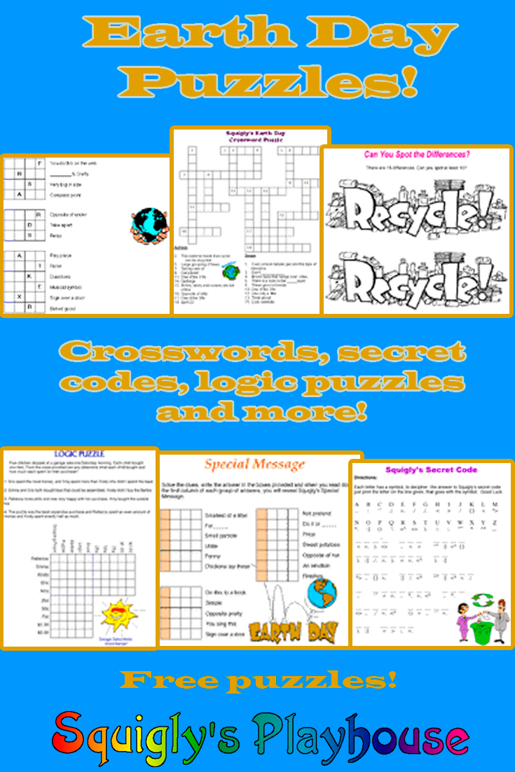 Free printable pencil puzzles about Earth Day!