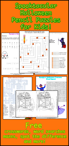 Free printable Halloween Pencil Puzzles for kids. Use in the classroom or at home. Answers provided!