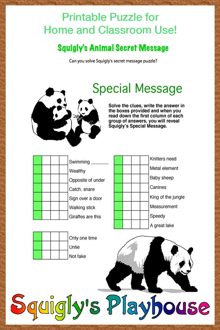 Print this secret message word puzzle for kids. Kids will have fun solving this puzzle and then reading the secret message. This puzzle is free for home and classroom use.