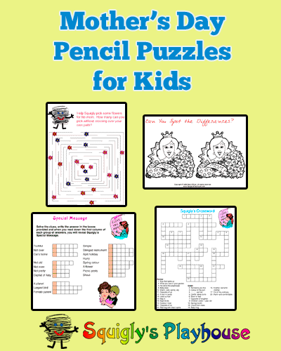 Mother's Day Pencil Puzzles for Kids