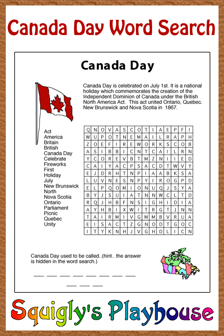 this free learning resource for your kids. This Canada Day Word Search ...