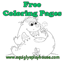 Coloring Page of a cute dragon. Text overlay: Free Coloring Pages