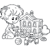 Coloring Page of Girl Playing with Doll House