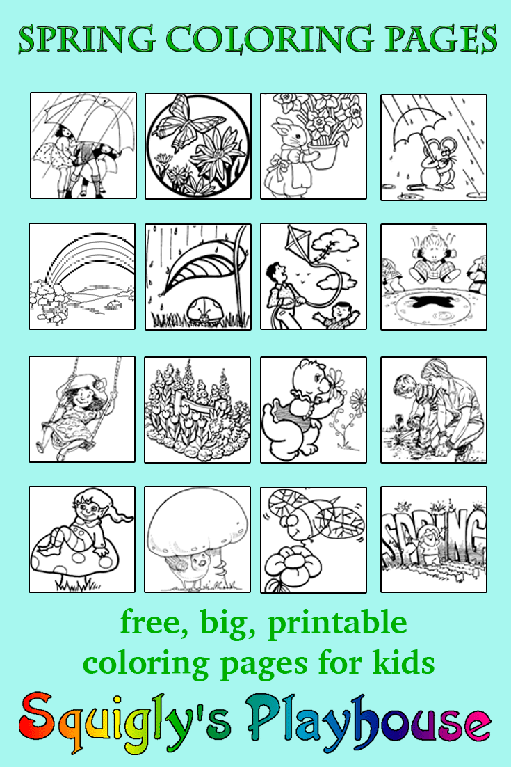 Free Spring Coloring Pages for kids.