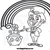 Leprechaun with a Pot of Gold Coloring Page