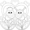 Owls In Love Coloring Page