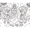 Coloring Page of Kids Building a Snowman