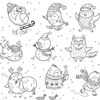 Penguins Having Fun Winter Coloring Page
