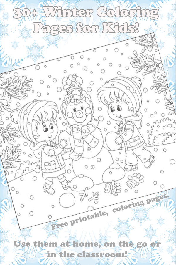 Over 30 free winter coloring pages for kids.
