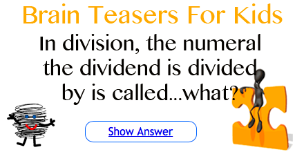 image of stick figure on sitting on puzzle piece with words in division the numeral the dividend is divided by is called?