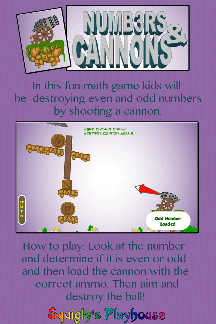 A fun online Math Game that teaches children about even and odd numbers.