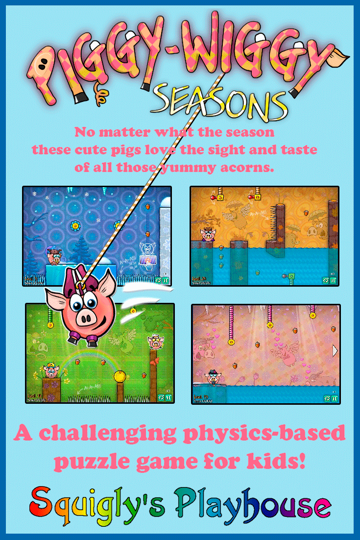 Challenge your child's thinking with this physics-based puzzle game. Draw links and slice ropes to that the hungry pigs can eat all the nuts they find!