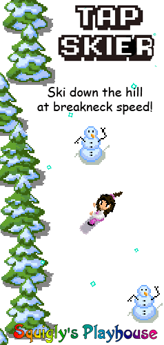 Tap Skier is a tablet, mobile and desktop friendly game! Race down the ski hill at breakneck speed avoiding obstacles as you go!