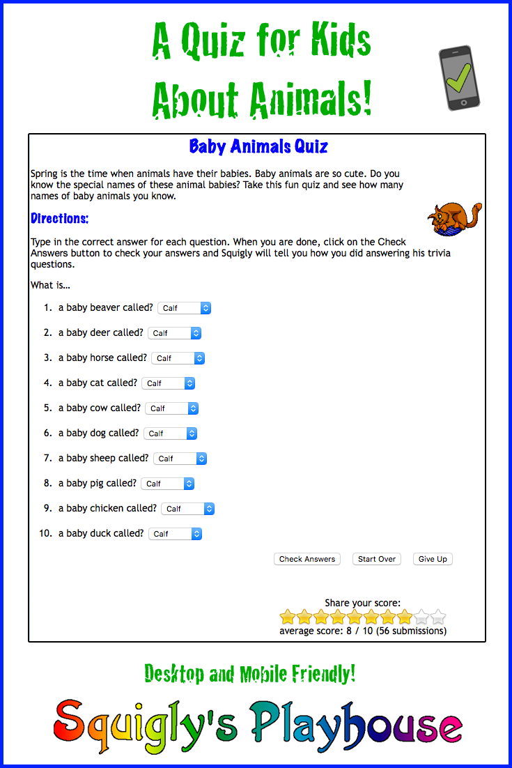 graphic about Animal Trivia Questions and Answers Printable called Child Trivia Thoughts Pets Youngsters