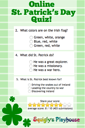 picture regarding St Patrick Day Trivia Questions and Answers Printable referred to as Awesome, On-line St. Patricks Working day Quiz Squiglys Playhouse