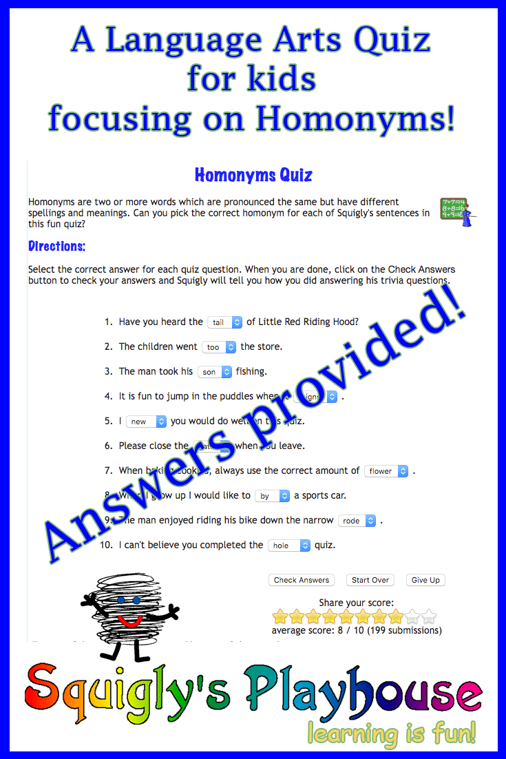 Homonyms Quiz | Squigly's Playhouse