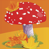 Autumn leaves and a toadstool