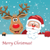 Santa and Rudolph and the words Merry Christmas