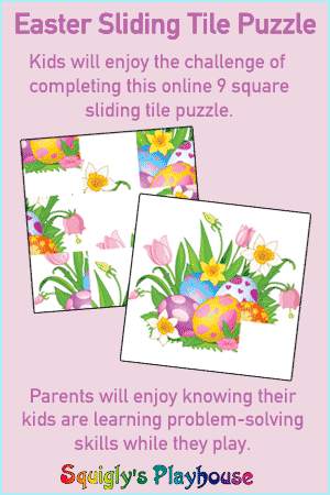 Easter themed 9 square online sliding tile game.