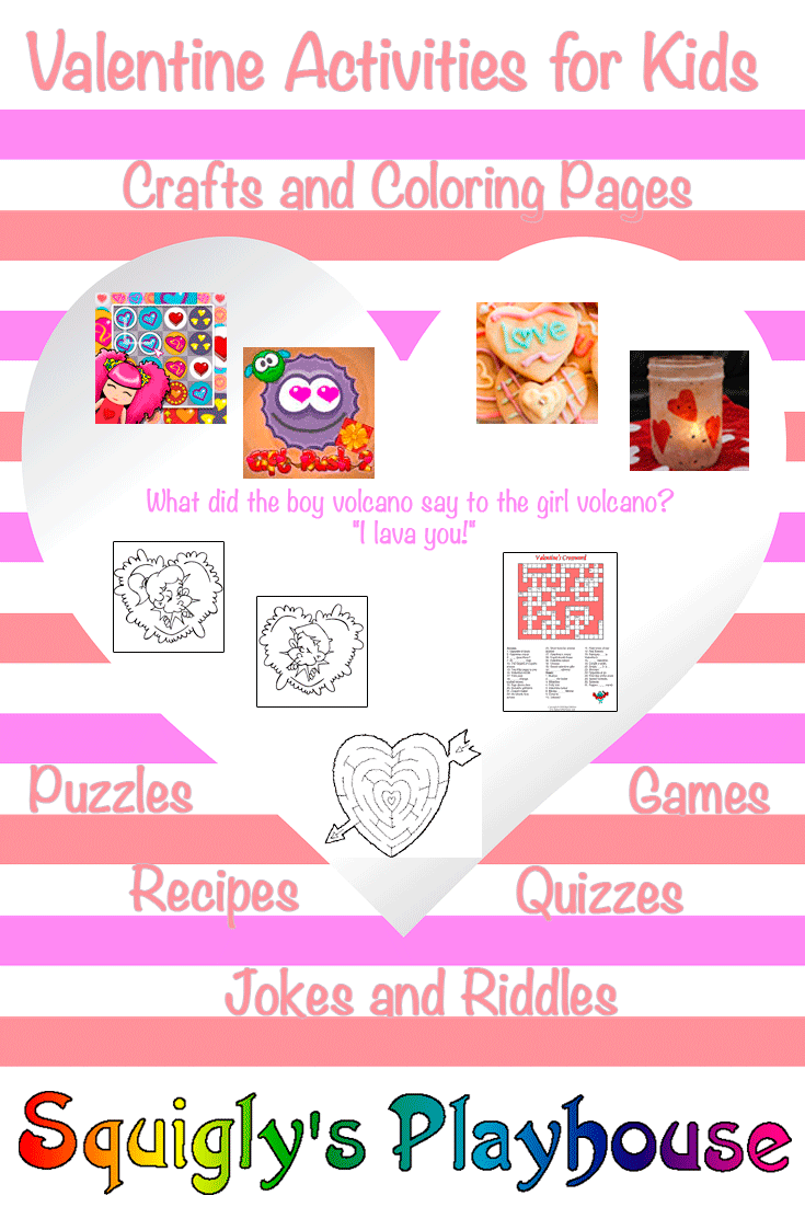 Valentine background with the words free Valentine Activities for kids
