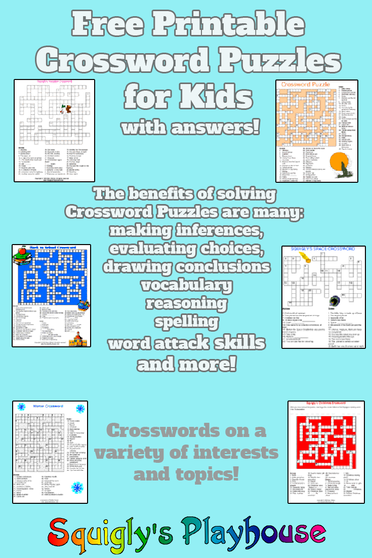 Printable Crossword Puzzles For Kids At Squigly S Playhouse