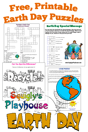 image regarding Earth Day Crossword Puzzle Printable named Printable Planet Working day Puzzles for Small children Squiglys Playhouse