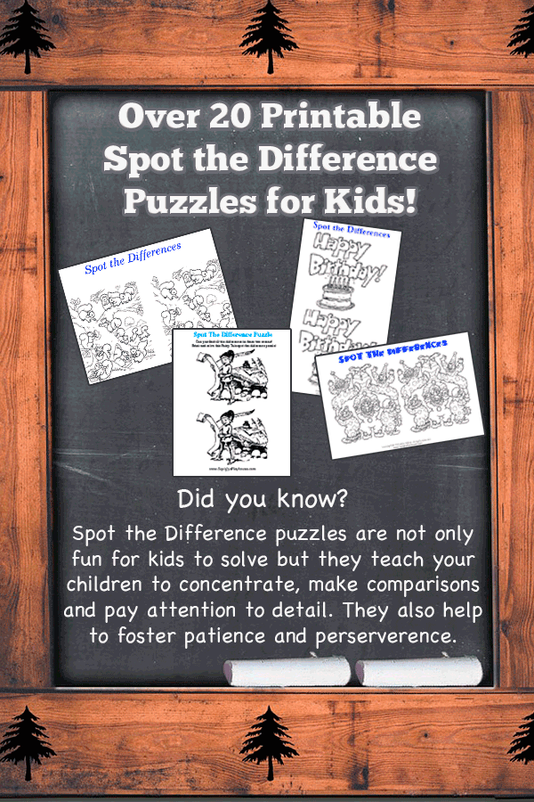 Over 20 free spot the difference puzzles for kids!