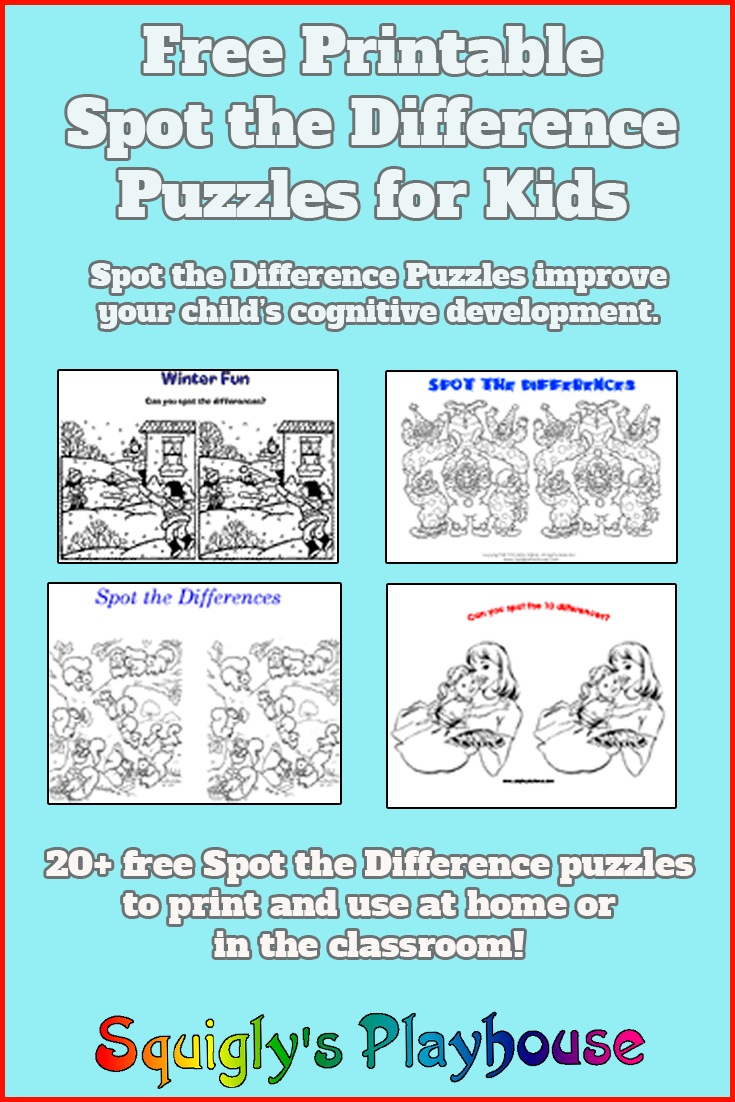 Free printable Spot the Difference puzzles to use at home or in the classroom. Printable puzzles for kids.