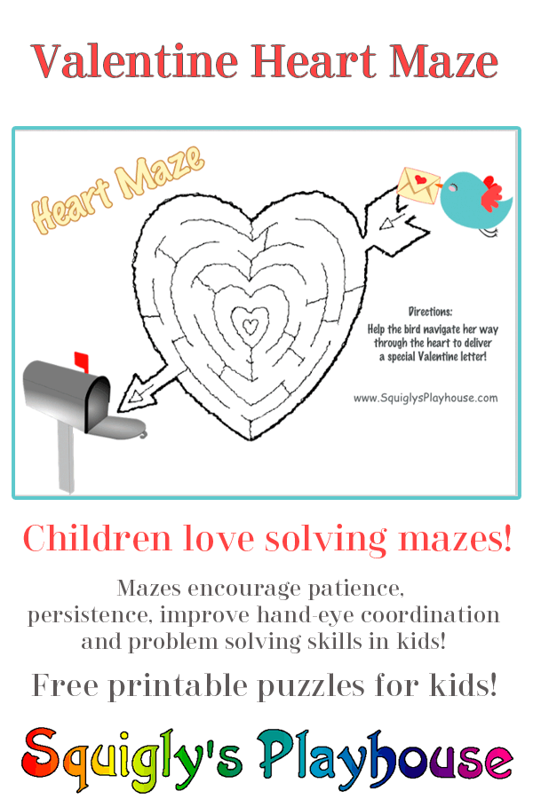 photograph relating to Valentines Puzzles Printable titled Printable Valentines Working day Puzzles for Youngsters Squiglys Playhouse