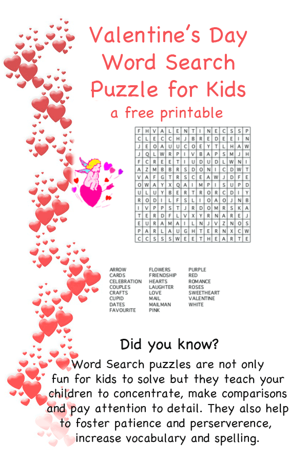 photograph relating to Valentine Crossword Puzzles Printable titled Printable Valentines Working day Puzzles for Small children Squiglys Playhouse