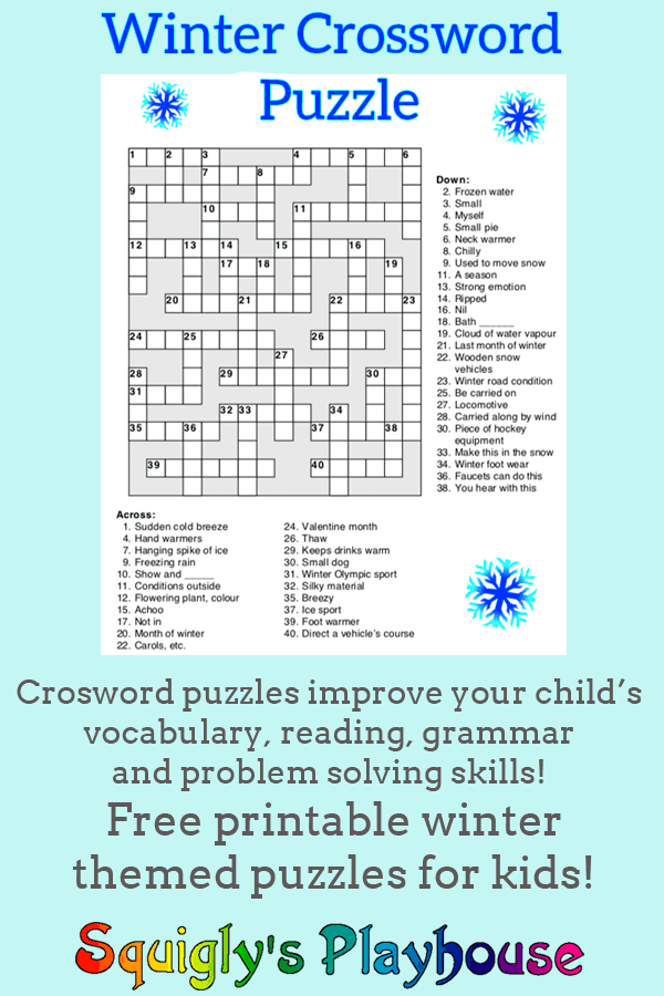 Winter Crossword puzzle for kids. Help your child with their reading, writing, grammar and vocabulary with this fun, free printable puzzle.